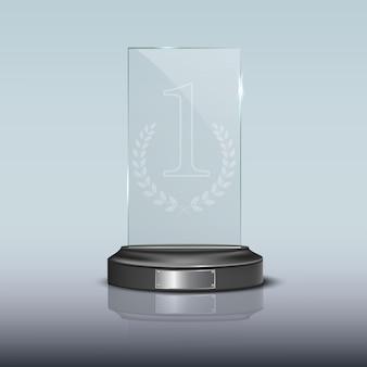 Glazen rechthoekige podiumplaat met spiegelreflectie