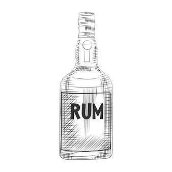 Glazen rumfles. geïsoleerd op een witte achtergrond. gravure stijl vectorillustratie.