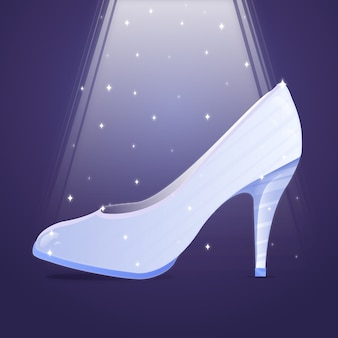 Glazen schoen in fel licht