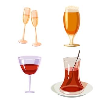 Glazen set. cartoon set van glas