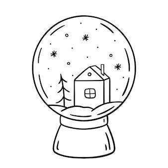 Glazen sneeuwbol versierd met een huisspar en sneeuwvlokken erin