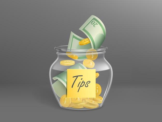 Glazen spaarpot voor tips