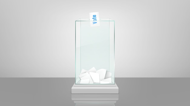 Glazen stembus met papieren realistische vector