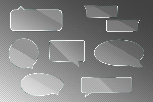 Glazen tekstballonnen voor chatdialoog