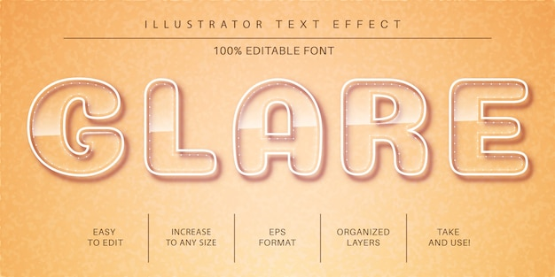 Glazen teksteffect, tekenstijl