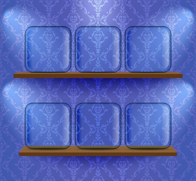 Glazen tijdelijke aanduidingen op de planken