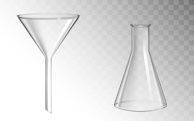 Glazen trechter en kolf, glaswerk voor chemisch laboratorium