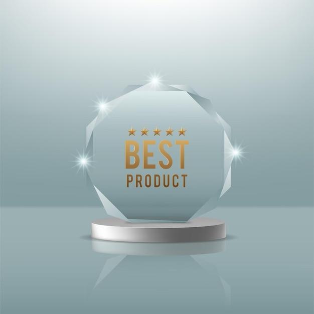 Glazen trofee-award schijnt met licht