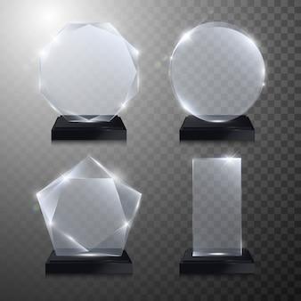 Glazen trofee-onderscheiding. kristal 3d transparant