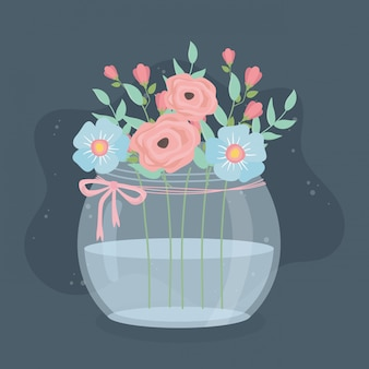 Glazen vaas met bloemen en bladeren decoratie