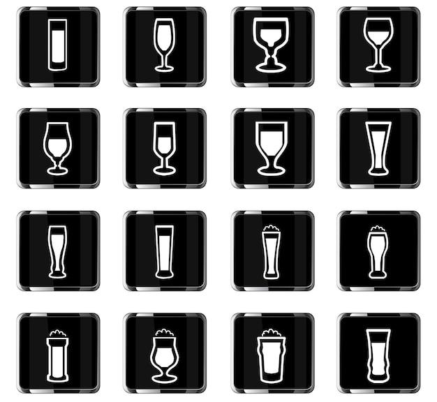 Glazen vectorpictogrammen voor gebruikersinterfaceontwerp