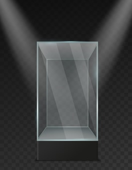 Glazen vitrine. transparante plastic lege vierkante doos onder schijnwerpers realistisch mockup. museum expositie staan glanzende container voor presentatie product en tentoonstelling vector 3d geïsoleerde sjabloon