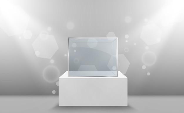 Glazen vitrine voor de tentoonstelling in de vorm van een kubus achtergrond te koop verlicht door schijnwerpers museumglas