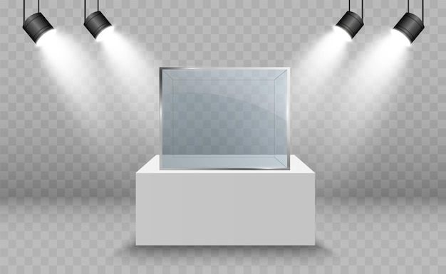 Glazen vitrine voor de tentoonstelling in de vorm van een kubus achtergrond te koop verlicht