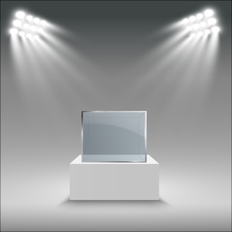 Glazen vitrine voor de tentoonstelling in de vorm van een kubus. Premium Vector