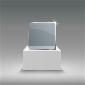 Glazen vitrine voor de tentoonstelling in de vorm van een kubus.