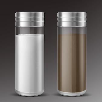 Glazen zout- en peperschudbekers