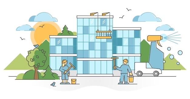 Glazenwassersbedrijf met een overzichtsconcept voor het wassen van glazen wanden