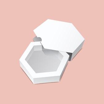Glijdende zeshoekige doos mock-up