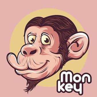 Glimlach aap chimpansees hoofd