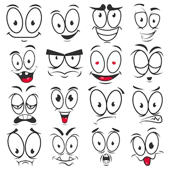 Glimlach cartoon emoticons en emoji gezichten vector iconen