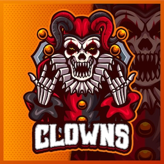 Glimlach clown mascotte esport logo ontwerp illustraties vector sjabloon, griezelig logo voor team spel streamer youtuber banner twitch onenigheid