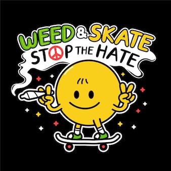 Glimlach gezicht toon vredesgebaren rook wiet en rijdt skateboard
