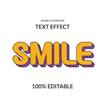 Glimlach leuk komisch rond geel paars en regel bewerkbaar lettertype-effect voor kinderweergave