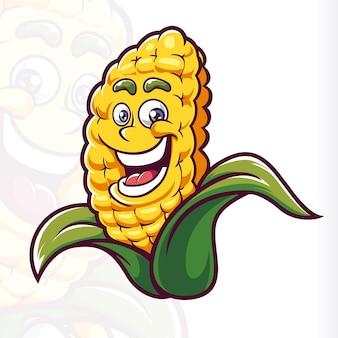 Glimlach maïs mascotte cartoon vector