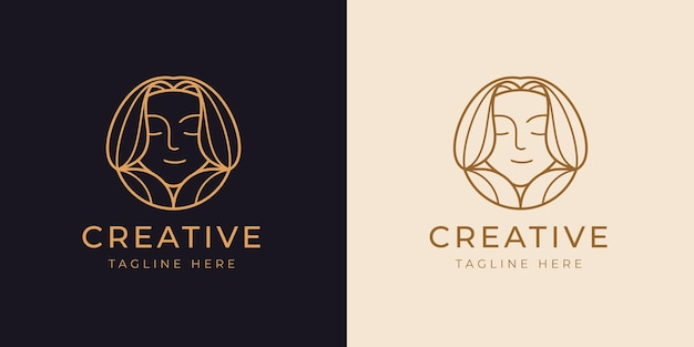 Glimlach meisje logo lijn ontwerpsjabloon