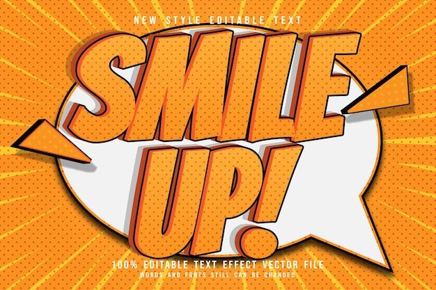Glimlach omhoog bewerkbaar teksteffect in reliëf cartoonstijl