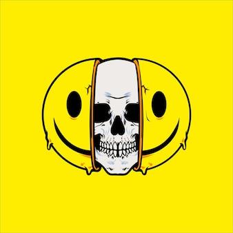 Glimlach schedel gezicht vectorillustratie