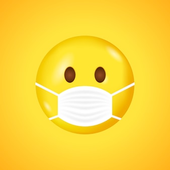 Glimlach sjabloon met mondmasker. smileygezicht met een wit medisch chirurgisch masker. coronavirus.