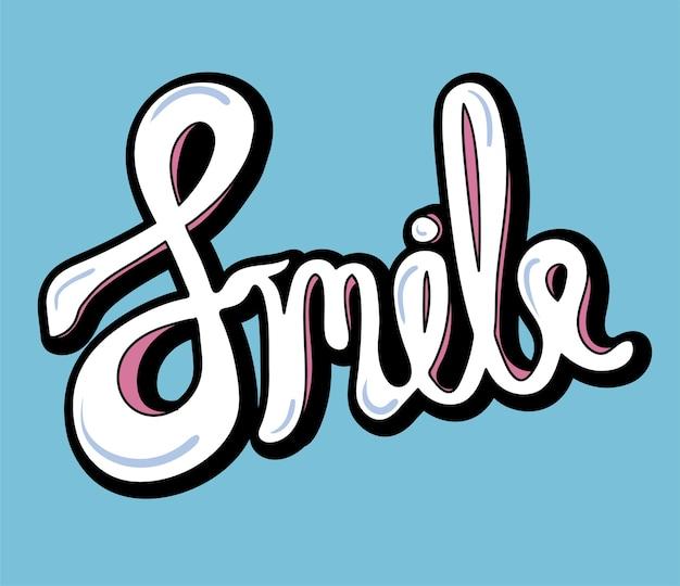 Glimlach woord typografie ontwerp illustratie