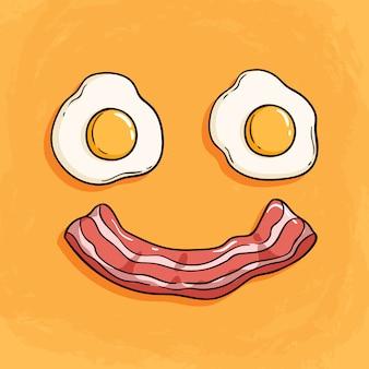 Glimlachbacon en eiillustratie voor ontbijt op oranje achtergrond