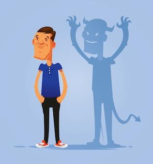Glimlachend doen alsof goed persoon dubbel gezicht man karakter met duivels schaduw. hypocrisie concept. platte cartoon geïsoleerde illustratie