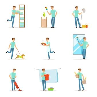 Glimlachend huismannen wassen, koken, schoonmaken en winkelen.