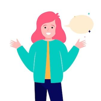 Glimlachend meisje en lege tekstballon