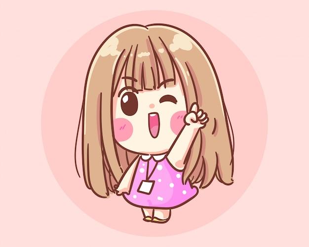 Glimlachend meisje hand gebaren cartoon kunst illustratie premium vector