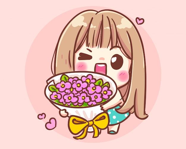 Glimlachend meisje met bloemboeket cartoon kunst illustratie premium vector