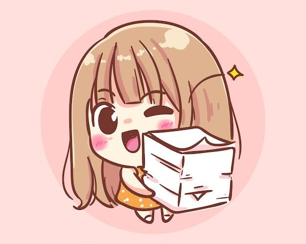 Glimlachend meisje met papieren documenten cartoon kunst illustratie premium vector