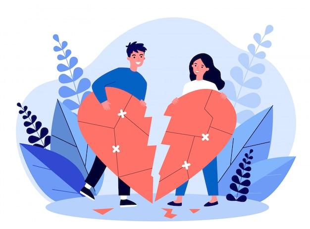 Glimlachend paar dat gebroken hartillustratie herstelt