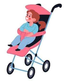 Glimlachend peutermeisje dat in kinderwagen zit en naar buiten kijkt om de omgeving te verkennen. kiddo in kinderwagen, vrolijk kind met veiligheidsgordel en handvat. gelukkig ouderschap en jeugd. vector in vlakke stijl