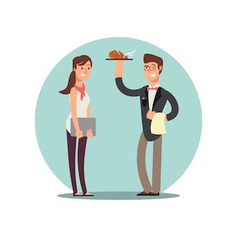 Glimlachend restaurantpersoneel in karakters van de keuken de eenvormige vectorbeeldverhaal
