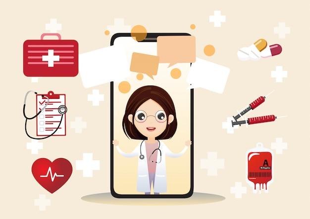 Glimlachende arts op het telefoonscherm