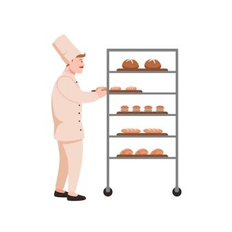 Glimlachende bakker met brood. broodbakmachine met geïsoleerd bakkerijassortiment