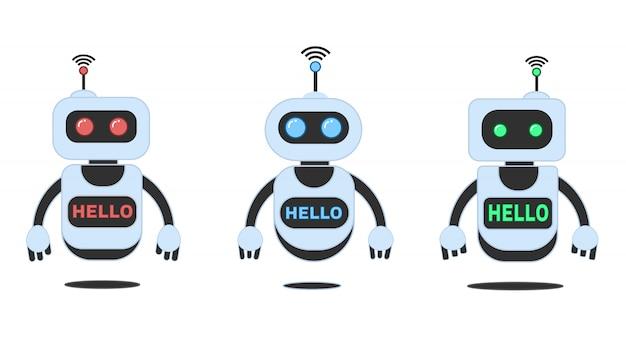 Glimlachende chatbot die problemen, innovatierobot helpen oplossen