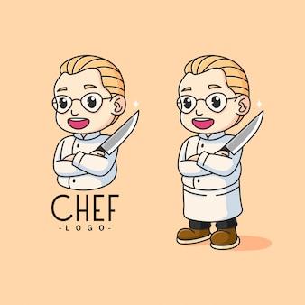 Glimlachende chef-kok die een mescot-logo van het mes houdt. embleem voor bedrijfsmerk.