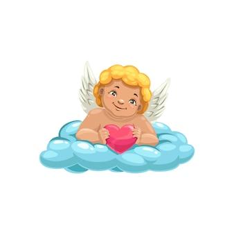 Glimlachende cupido, gevleugelde jongen op wolk, hart