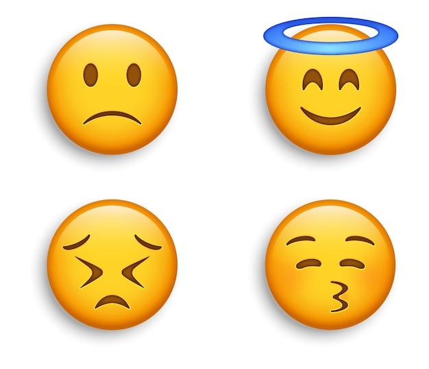 Glimlachende emoji met halo en kissy face, licht fronsende droevige emoticon en volhardende emotie